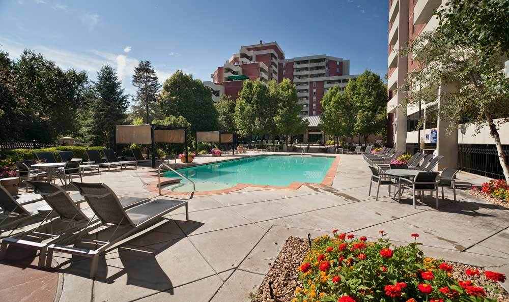 Get a tan by the pool at Marquis at the Parkway in Denver, CO