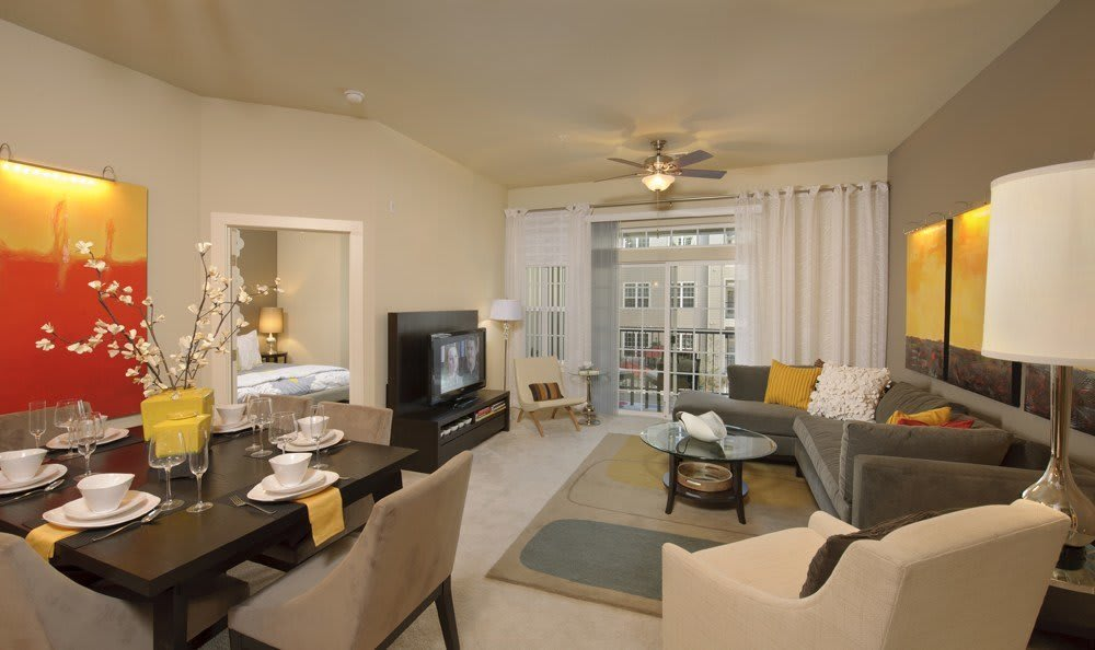 luxurious living room at The Marq at Ridgegate in Lone Tree, CO
