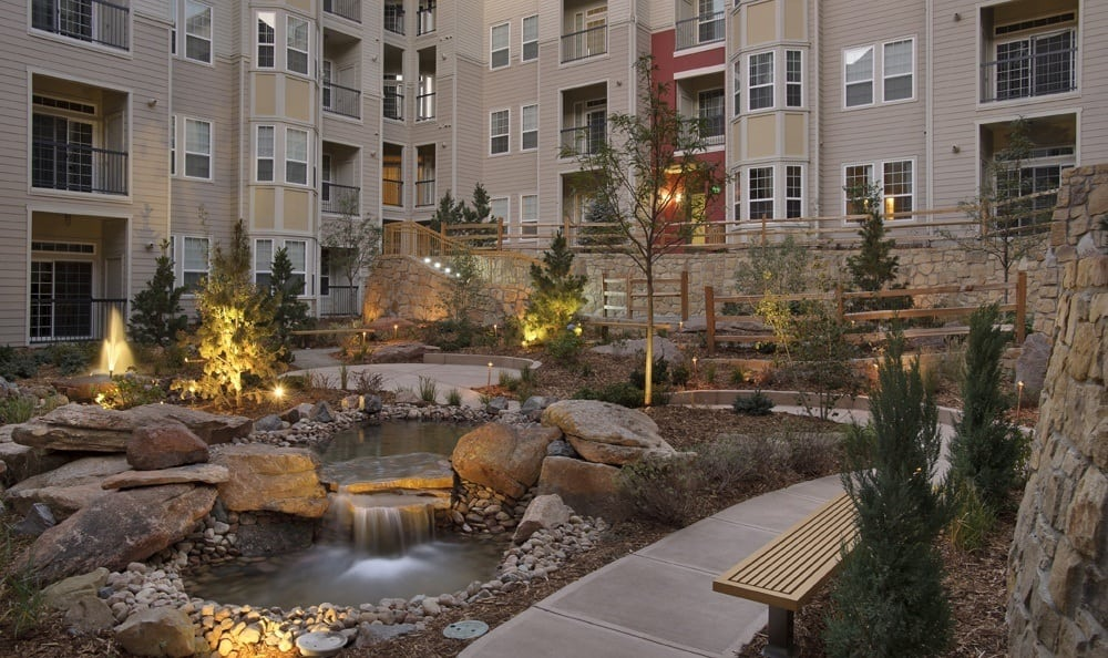 marvelous inner garden at The Marq at Ridgegate in Lone Tree, CO