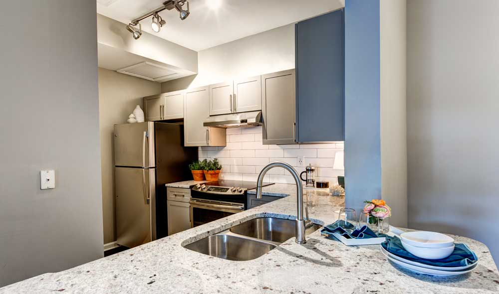 The kitchen is conveniently located at The Marq at Brookhaven in Brookhaven, GA