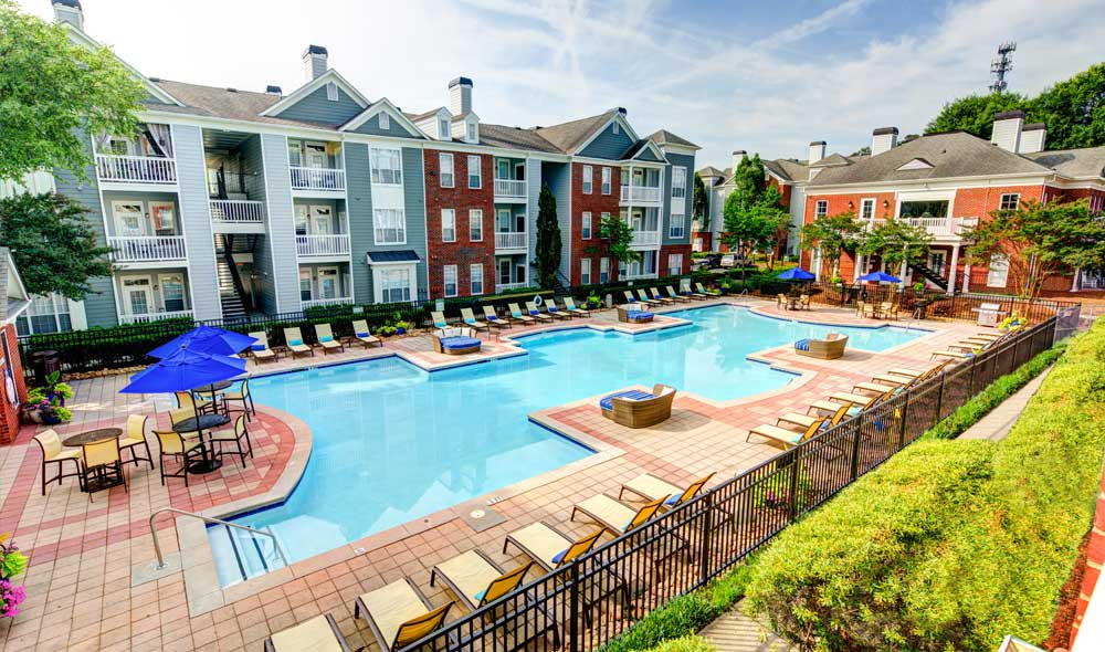Pool at apartments in Brookhaven