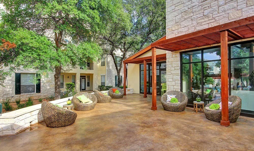 Beautiful outdoor patio at Marquis at Great Hills in Austin, TX