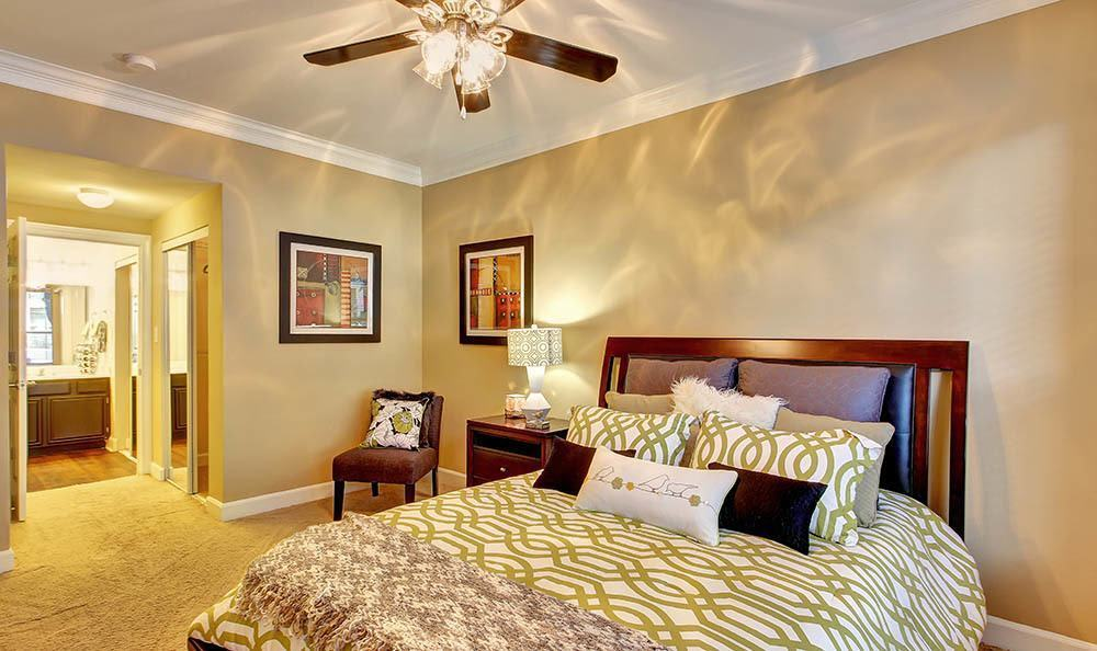 Well decorated bedroom at Marquis at Great Hills in Austin, TX