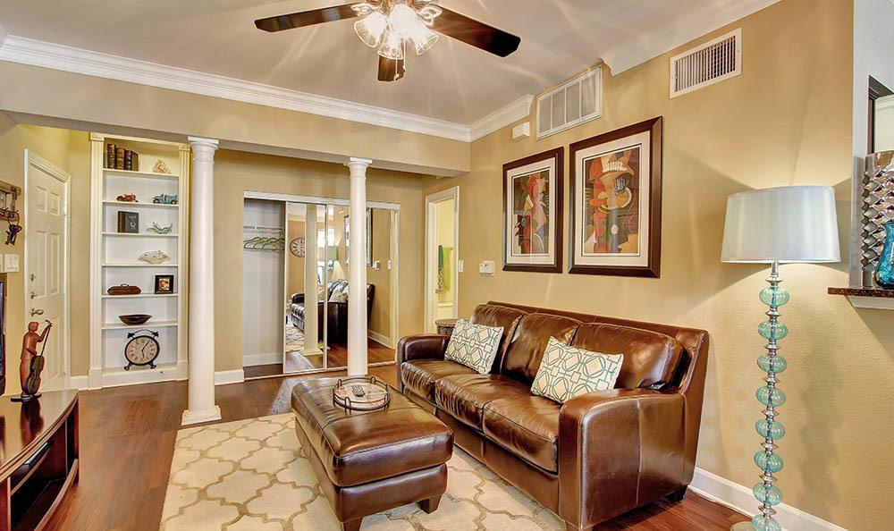 Living room with hardwood floors at Marquis at Great Hills in Austin, TX