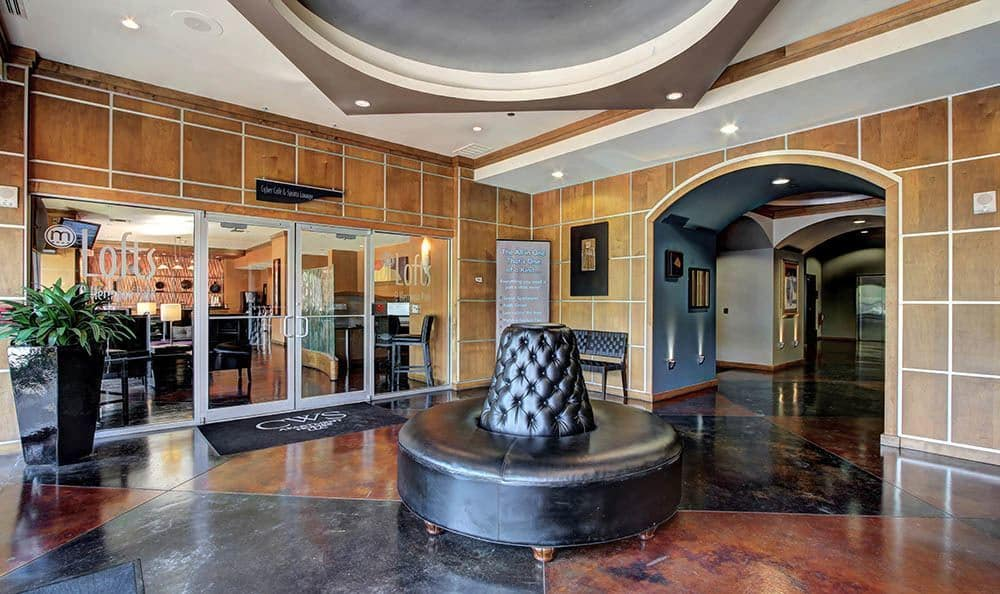 Beautiful lobby at The Marquis Lofts at Hermann Park in Houston, TX