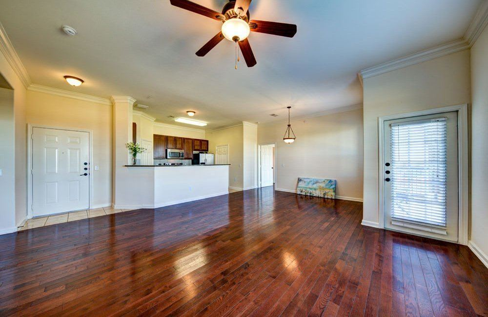 Wood floors in aparments at Marquis at Star Ranch in Hutto, TX
