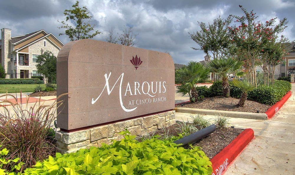 The entrance sign at Marquis at Cinco Ranch in Katy, Marquis at Cinco Ranch