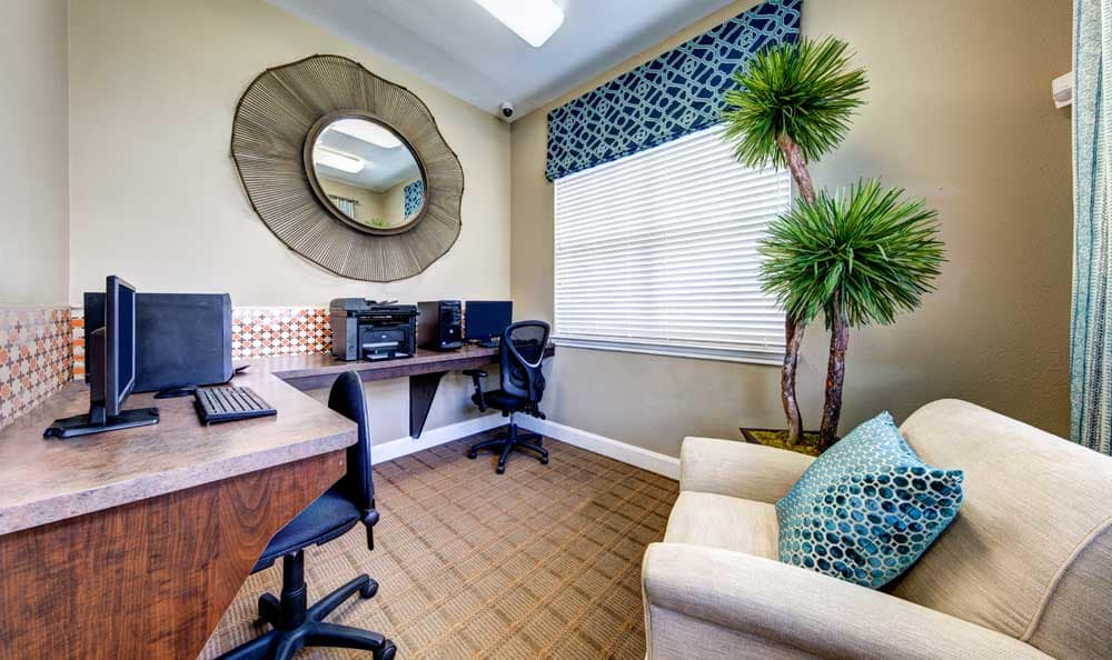 Computer lounge at Marquis at Cinco Ranch in Katy, TX