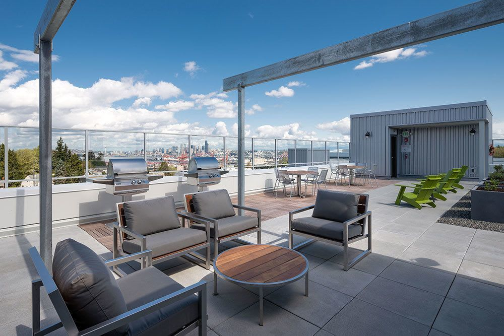 View of the rooftop at Marq West Seattle apartments