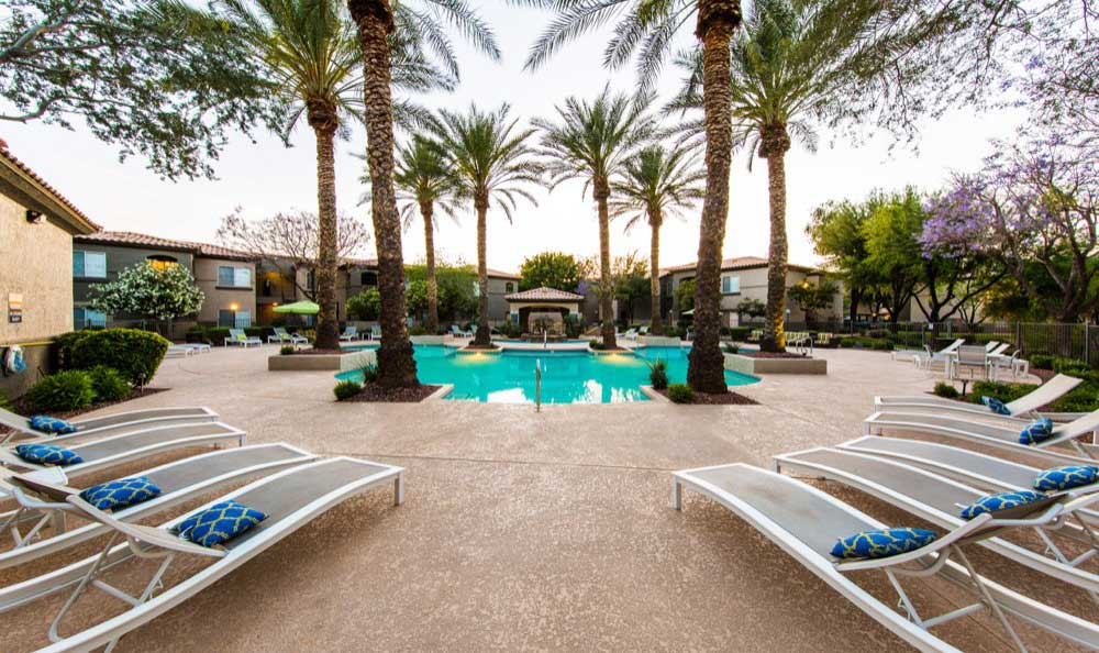 Resort-style swimming pool at Marquis at Arrowhead apartments for rent in Peoria, AZ