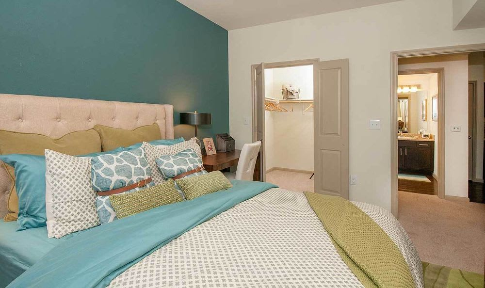 spacious bedroom with closet and bathroom at Marquis on Lakeline in Cedar Park, TX