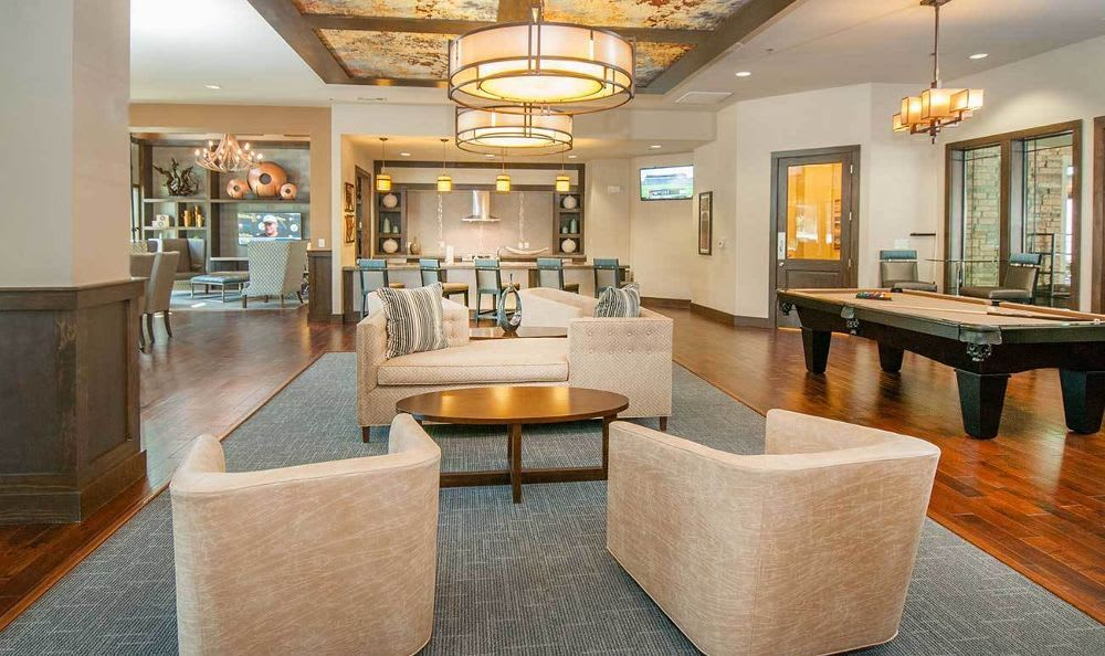 elegant clubhouse with pool table at Marquis on Lakeline in Cedar Park, TX