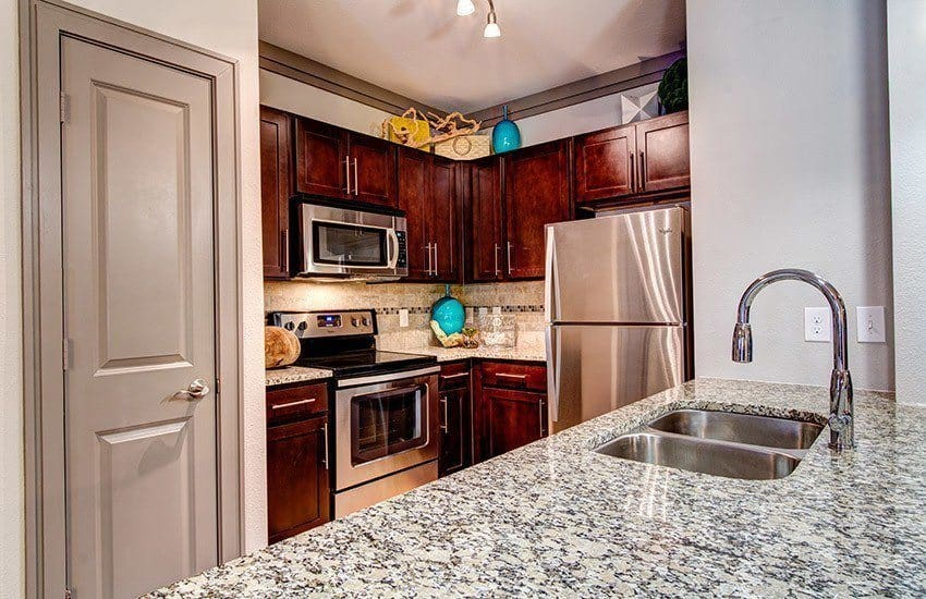 Kitchen with great amenities at The Marq at Weston in Morrisville, NC