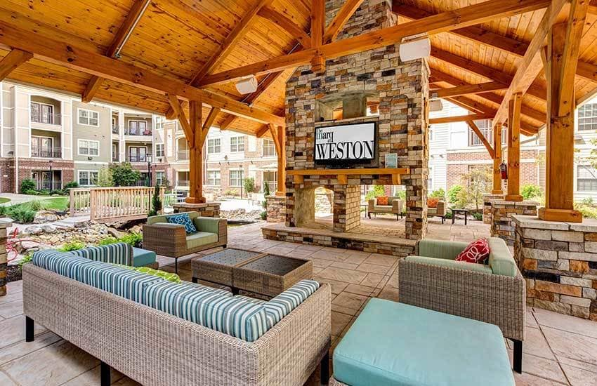 Relax by the pool at The Marq at Weston in Morrisville, North Carolina