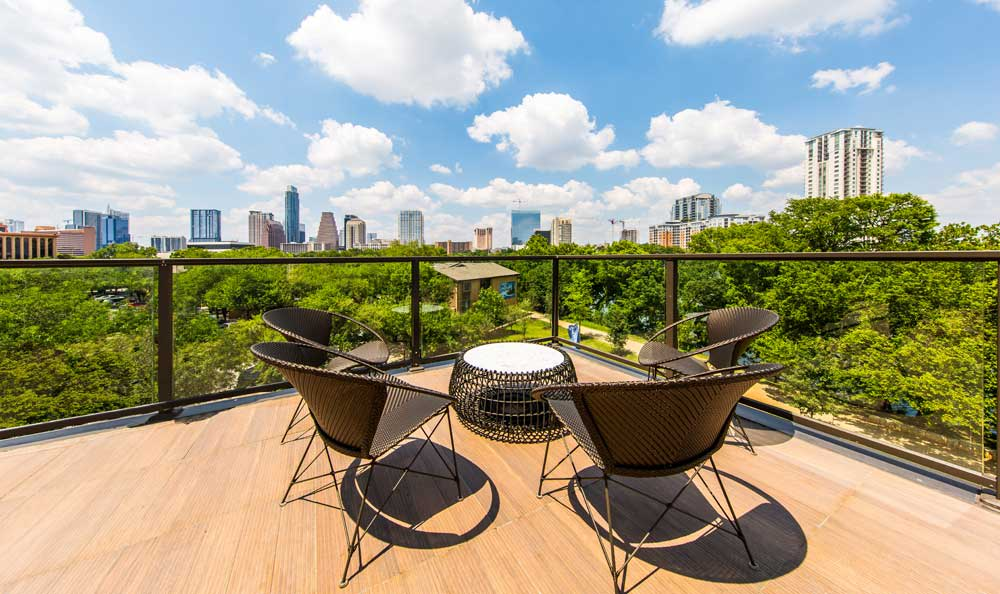 Outdoor seating area at apartments in Austin, TX