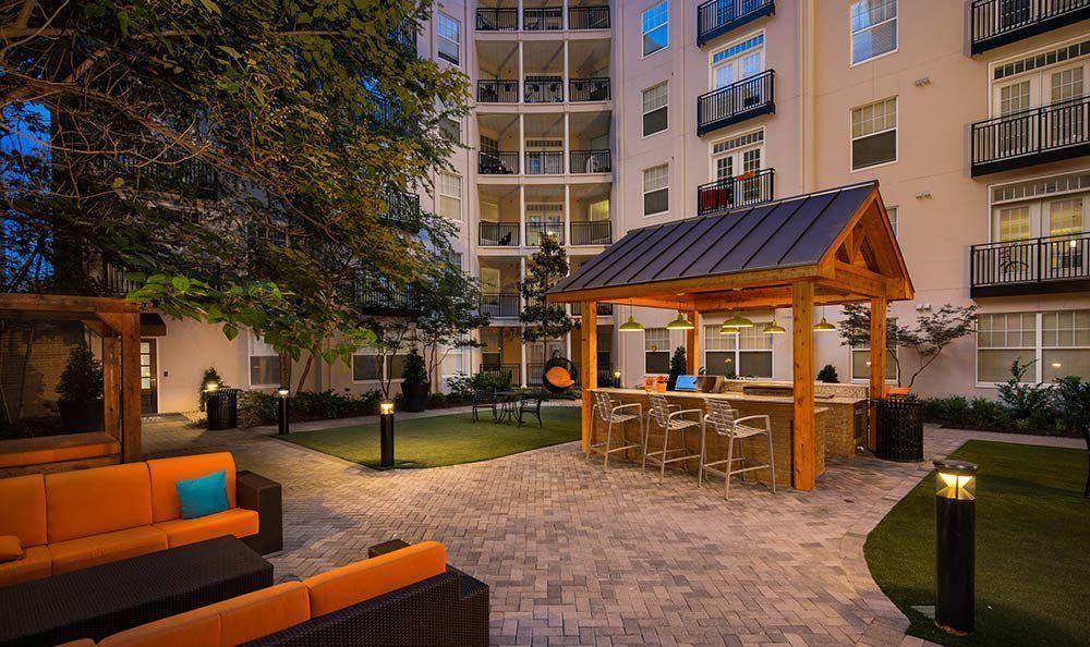 Courtyard at night at Marq on Ponce in Atlanta, GA
