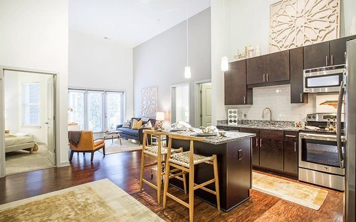 luxurious kitchen living room combo at Marq Midtown 205 in Charlotte, NC