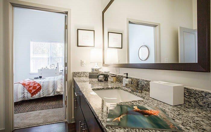 spacious bathroom at Marq Midtown 205 in Charlotte, NC