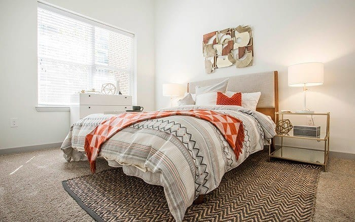 well decorated bedroom at Marq Midtown 205 in Charlotte, NC