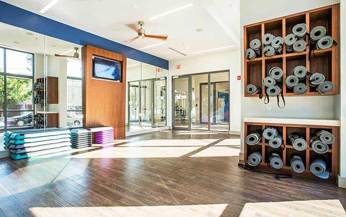 Yoga room at Marq Midtown 205 in Charlotte, NC