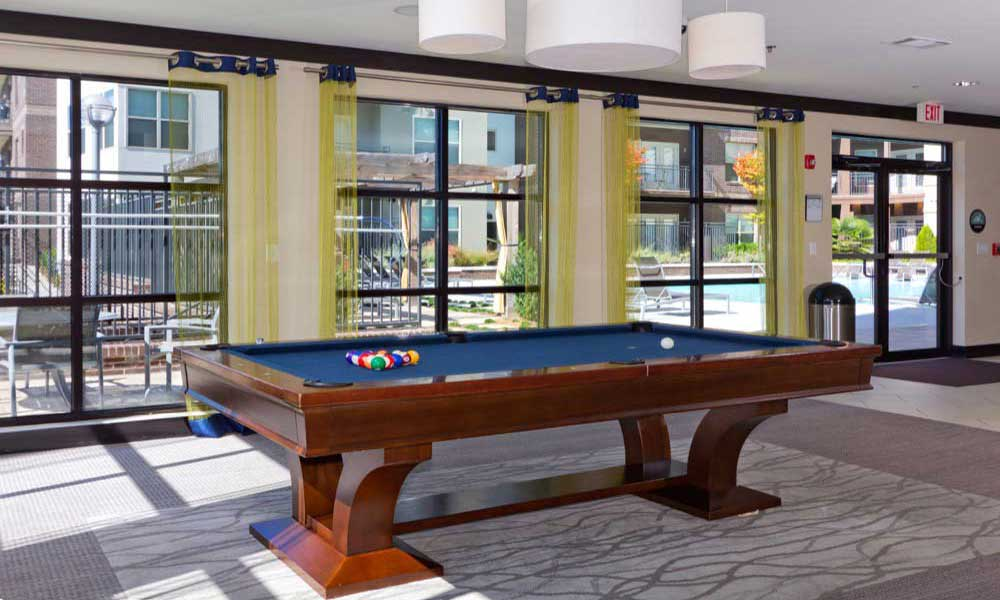 Billiards table at apartments in Atlanta
