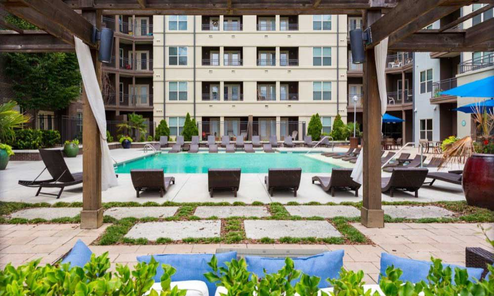 Resort-style swimming pool at Marq Eight apartments for rent in Atlanta, GA