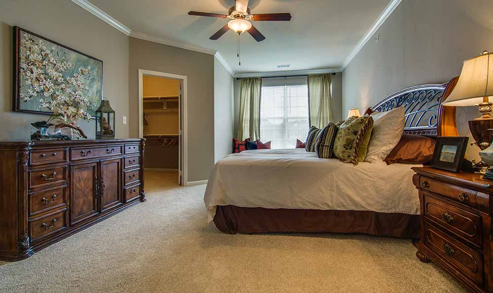 Model bedroom at Marquis at The Cascades in Tyler, TX