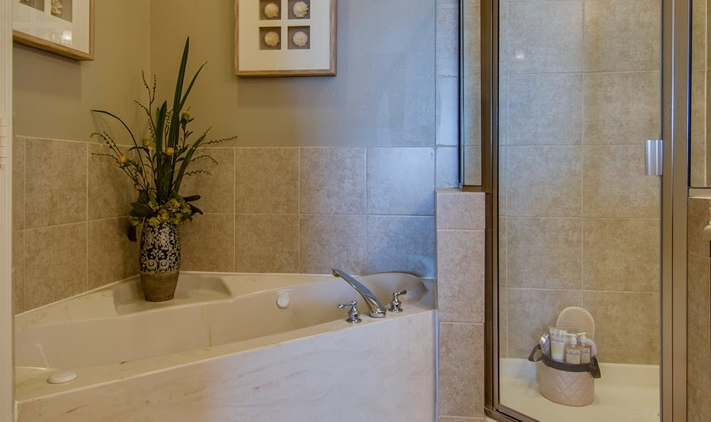 Luxury apartment bathroom at Marquis at The Cascades