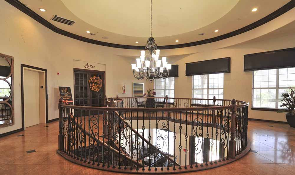 Warn and welcoming lobby at Marquis at Stone Oak in San Antonio
