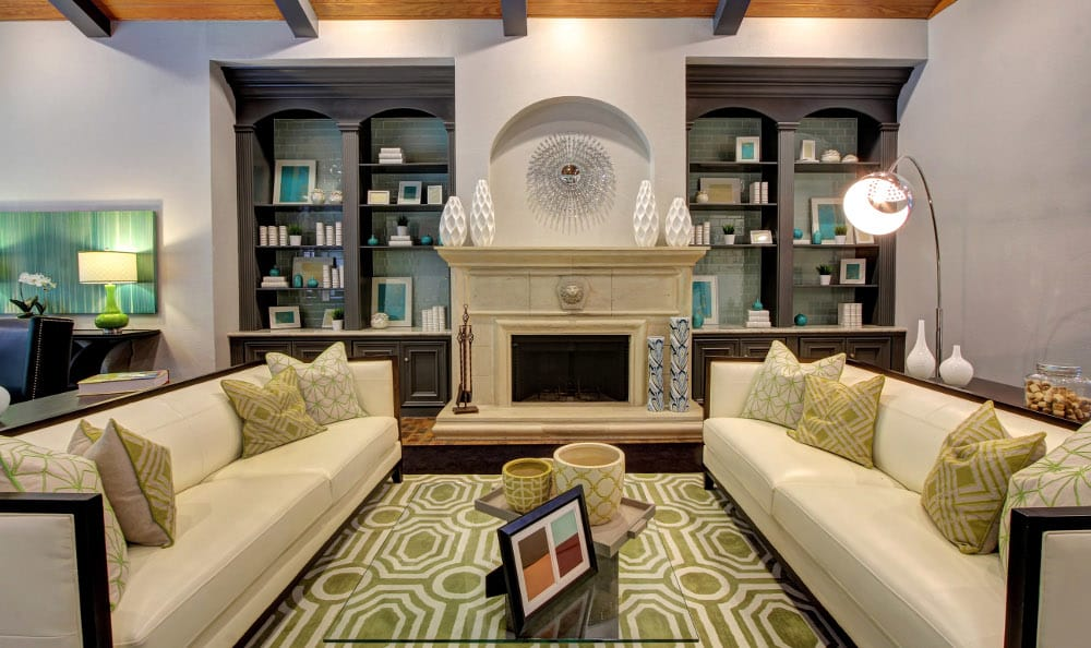Relax by the fireplace at Marquis at Kingwood in Kingwood, Marquis at Kingwood