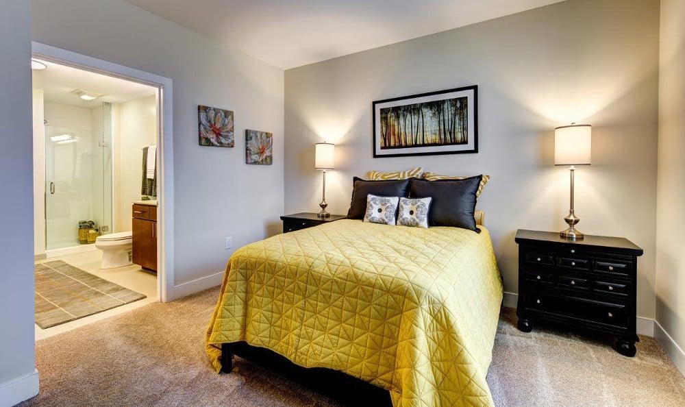 Model bedroom at M5250, in Houston, TX