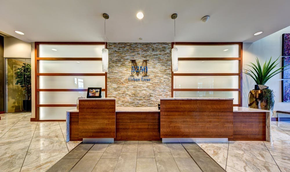 Walk into this modern lobby at M5250, in Houston, TX