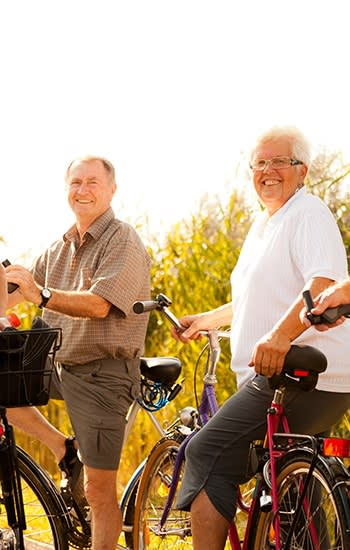 Group from one of our AssistedSenior.com communities setting out on a bike ride on a gorgeous day!