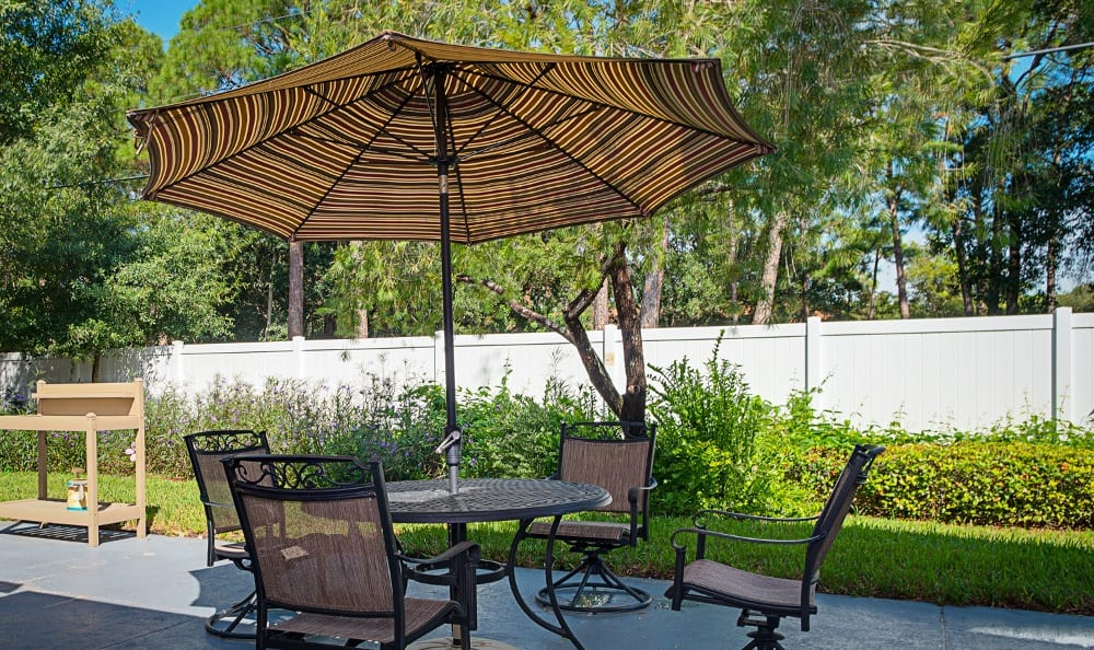 Patio furniture at Grand Villa of Pinellas Park in Florida