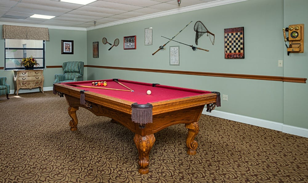 Pool Table At Our Senior Living Community In Pinellas Park
