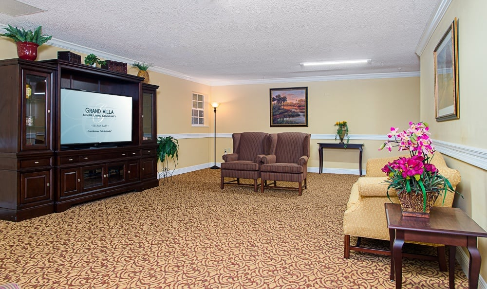 Spacious living room clubhouse at apartments in Delray Beach, Florida