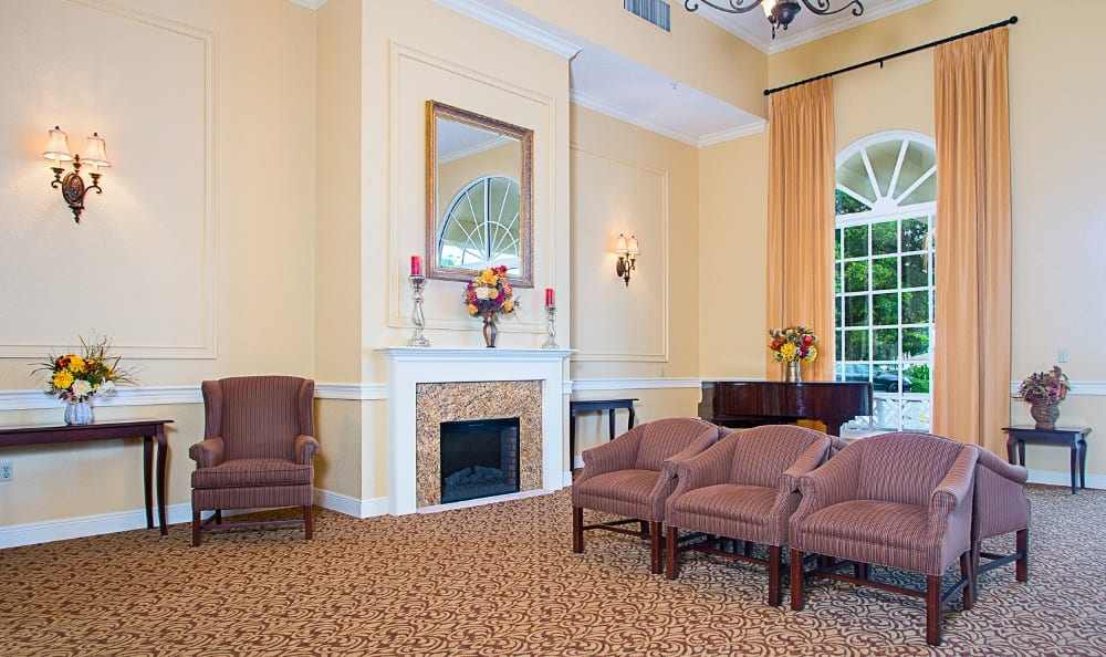 Grand Villa of Delray East offers a beautiful living room at clubhouse in Delray Beach, Florida