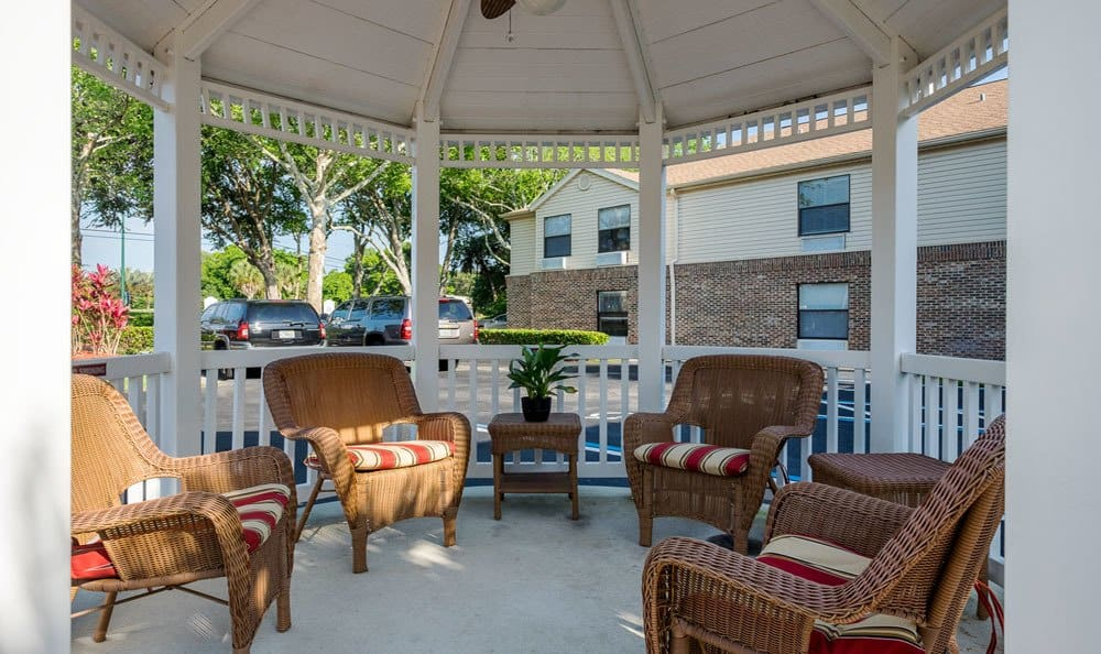 Gazebo seating at senior living in Ormond Beach, FL