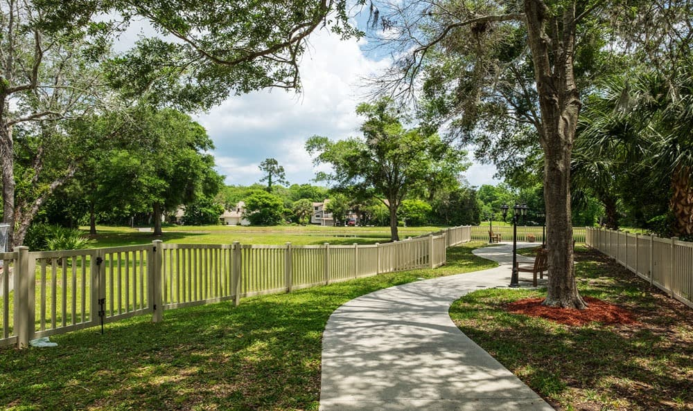 Walkway at senior living in Ormond Beach, FL