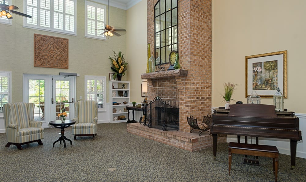 Fireplace at senior living in Largo, FL