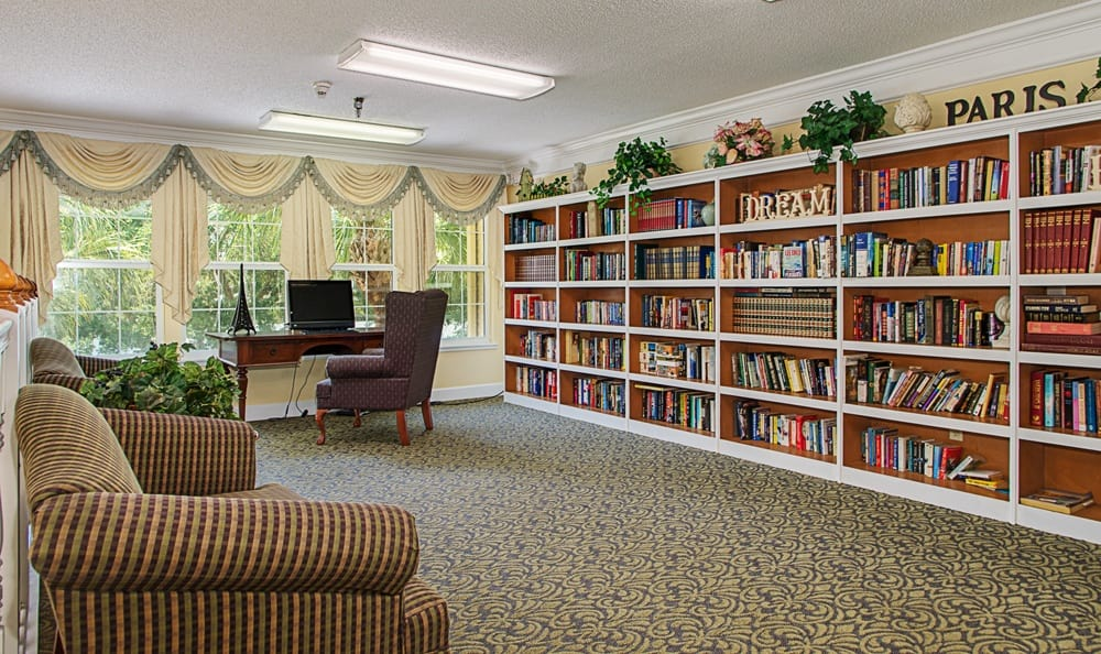 Library at senior living in Largo, FL
