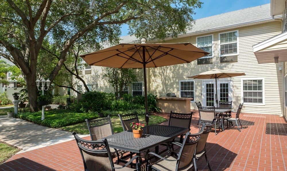 Patio at senior living in Largo, FL