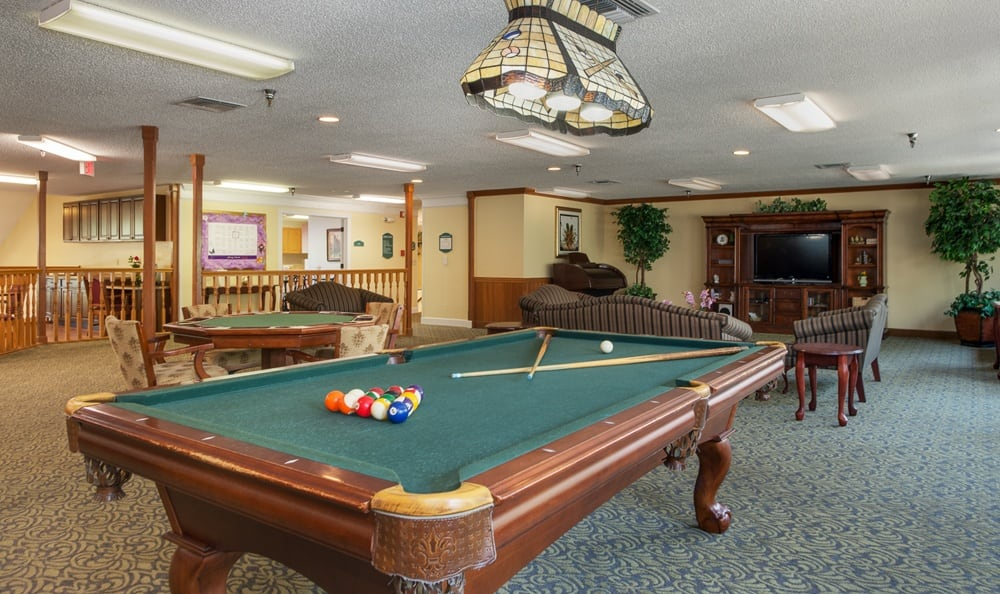 Pool table at senior living in Largo, FL