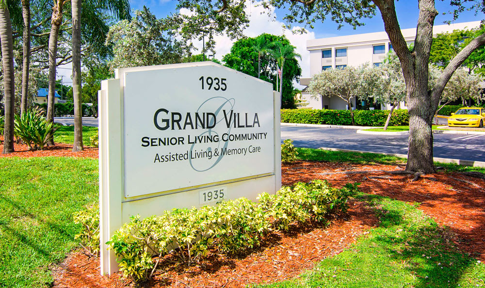 Welcome sign At Grand Villa of Boynton Beach In Boynton Beach FL