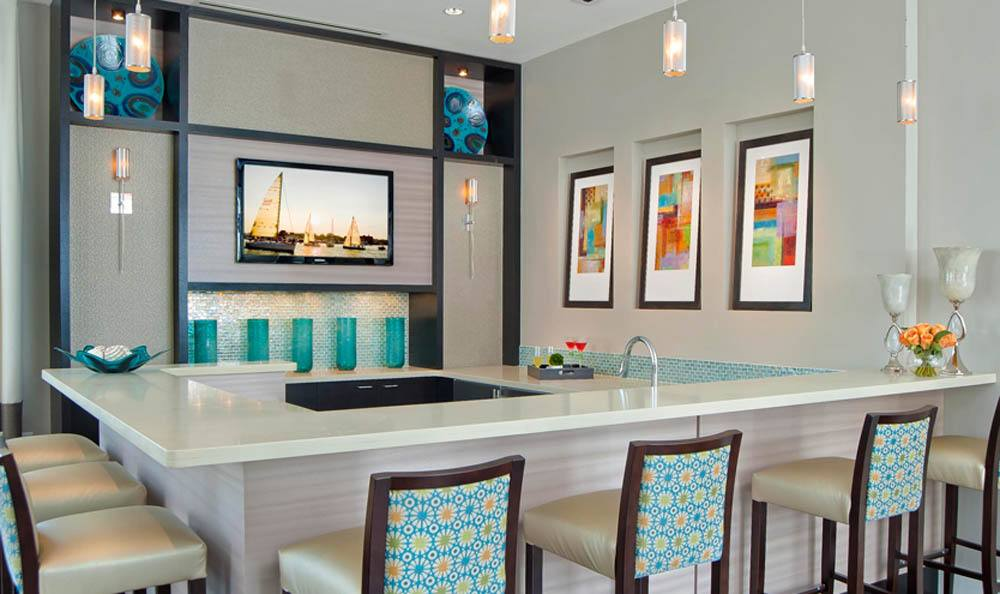 The clubhouse bar is great for entertaining at The Morgan in Chesapeake, VA