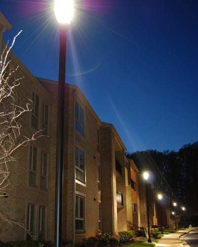 Night time at Amber Commons apartments