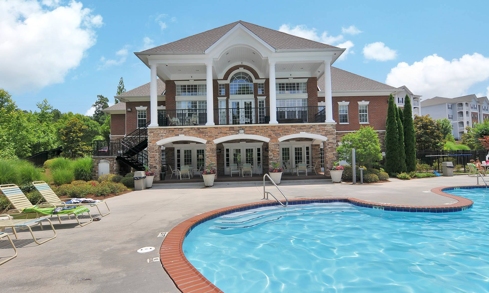 Pool house at apartments in Buford