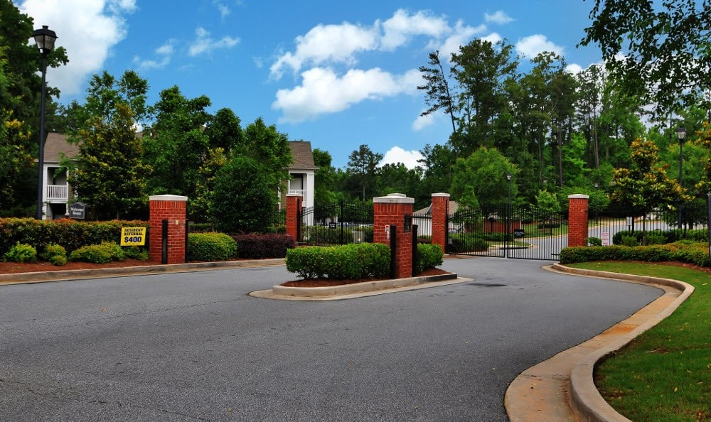 gated community at Cobblestone Landing Apartments in Kennesaw, GA