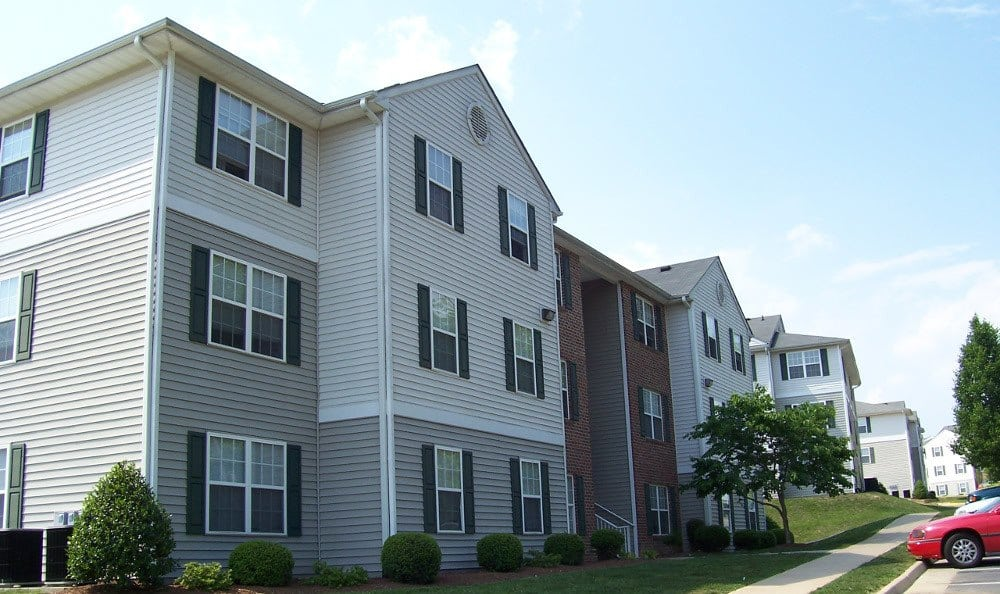 Another view of the exterior at England Run North Apartments in Fredericksburg, VA
