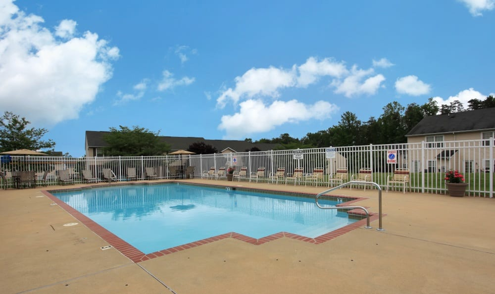 Sparkling swimming pool here at Fredericksburg apartments